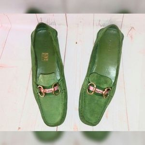 Gucci 10 Green Suede Driving Loafers Gold Horsebit